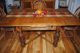 Oak Pub Table  6 Oak Chairs