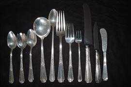 Towle Louis XIV Sterling Flatware  - 97 pcs   - Small caker server, 4 knives, 10 forks, 10 butter knives, 10 salad forks, 10 ice tea spoons, 10 knives, 10 grapefruit spoons, 10 melon spoons, 10 spoons, 10 soup spoons, serving spoon and 10 cocktail forks