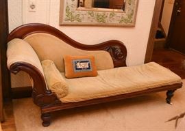 Antique / Vintage Chaise Lounge with Carved Details