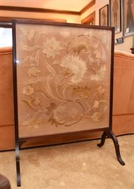Antique Fire Screen Guard / Fireplace Screen with Floral Embroidery Panel