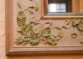 Wall Mirror with Floral Detail in Relief