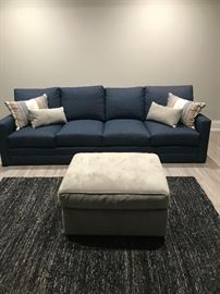 Century custom sofa storage ottoman pillows and rug. Sofa $1500 ottoman $300 rug $150 pillows $100