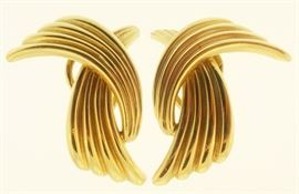 Lot 54: Henry Danker & Sons 14k Gold Earrings. Jewelry.