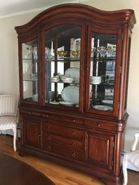 Cherrywood Dining Room China Cabinet with lighted interior asking 275.