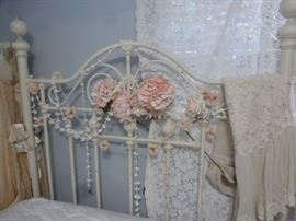 Vintage painted white Shabby Brass bed