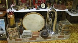 Vintage Wood American Beer Crates, Rosewood Drum, Getzen Horn, and more.