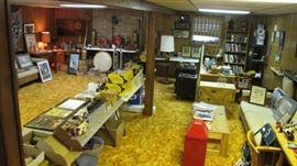 Basement full of collectibles.