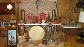 Fire call box, brass and other extinguishers, pole, poker, and more. Many brass Nozzles too.