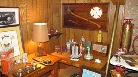 Fire axe, block tackle lamp, vintage radio and art. Tons of firefighter fireman fire fighting collectibles.