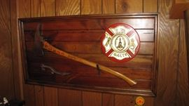 Vintage Firefighter axe & wrench tool.
