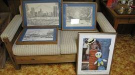 Cargo furniture living room set.  Limited Baltimore art prints.