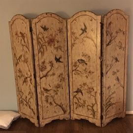 Hand-painted 4 panel dressing screen/ room divider