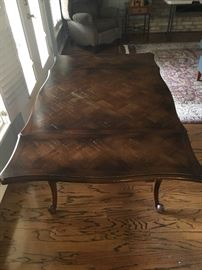 Parquet top country French table, extended