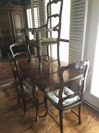 """Country French"" draw leaf table and rush seat chair set (single arm chair and 3 side side chairs as shown)"