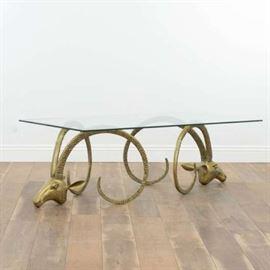 MID CENTURY MODERN BRASS IBEX HEAD COFFEE TABLE