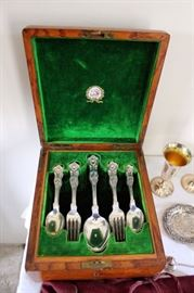 """Gorham """"King"""" pattern Sterling Dessert Set in fitted box from Caldwell's Philadelphia"""