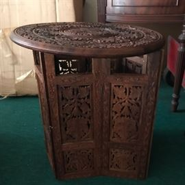 Solid Wood Intricately Hand carved Table, foldable, Large