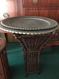 Brass Plate Table with Handwoven Solid Rattan base