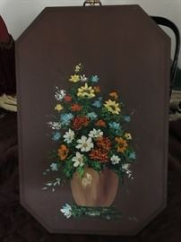 Floral Handpainted Solid Wood Art piece