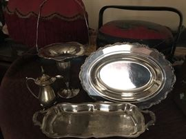 Assorted shapes Silvers, and Silver plated platters, fruit trays and tea sets