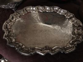 Large Oval-shaped Silver Platter w/ ornate design