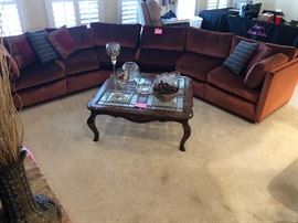 Section sofa, oak and leaded glass coffee and end tables