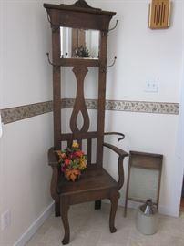 hall seat, washboard & jug