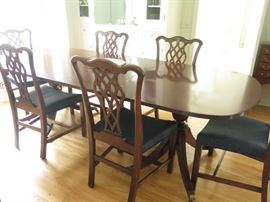 Best quality carved Mahogany  Chippendale dining suite with  double pedestal table  two leaves and pads