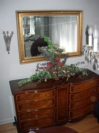 Custom sideboard is immaculate as is gilt mirror