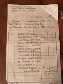 Sales Slip from purchase in 2005