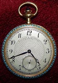 Vacheron & Constantin Geneve 18K Gold & Enamel pocket watch
