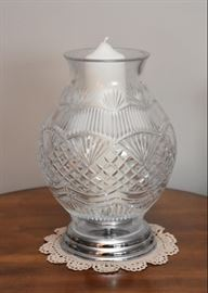 Large Waterford Crystal Fruited Plain Candle Hurricane Lamp (America the Beautiful)