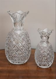 Waterford Crystal Pineapple Hospitality Vases, Master Cutter (in 2 different sizes, larger vase signed by Sean O'Donnell, smaller vase signed by John McGrath)