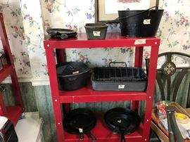This is all cast iron cookware.  Brand new red cart.