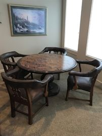 DINING  TABLE WITH 4 LEATHER CLUB CHAIRS. GREAT FOR A GAME TABLE