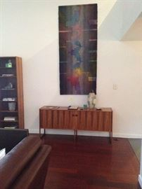 Rosewood side bar. Large hand made tapestry wall hanging