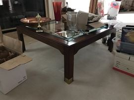 Wood and beveled glass square coffee table