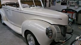 1940 Ford Convertible, custom built show car.  This is not a vintage 1940 Ford that has been restored – our client crafted the car from purchased parts, including the body (fiberglass, from Wescott) and built it himself until he was no longer able to, hence the unfinished aspect.