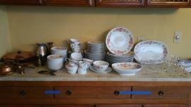 sweet mid century dinnerware set by Noritake pattern name 'Roseate'