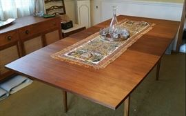 Gorgeous walnut dining table - has a large leaf, and drop leaves - so gets large as shown or much smaller - see following photos