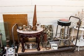 Marble Top Oval Table:  $60.00.  Shell Casing Pitcher:  $60.00.  Corvette Stool:  $39.00:  SOLD