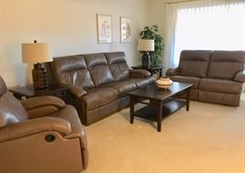 Ashley Wall-hugger Dual Reclining Sofa, Dual Reclining Love Seat, Rocking Recliner