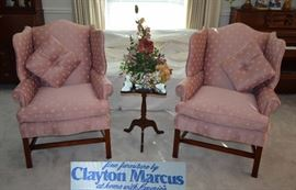 Pair of Clayton Marcus wingback chairs