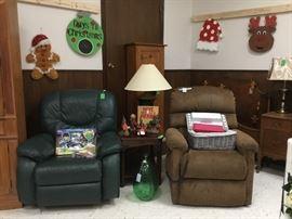 Rocker recliner on left, Lift chair on right, Christmas decor