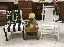 Wicker rocker, side table, occasional chair