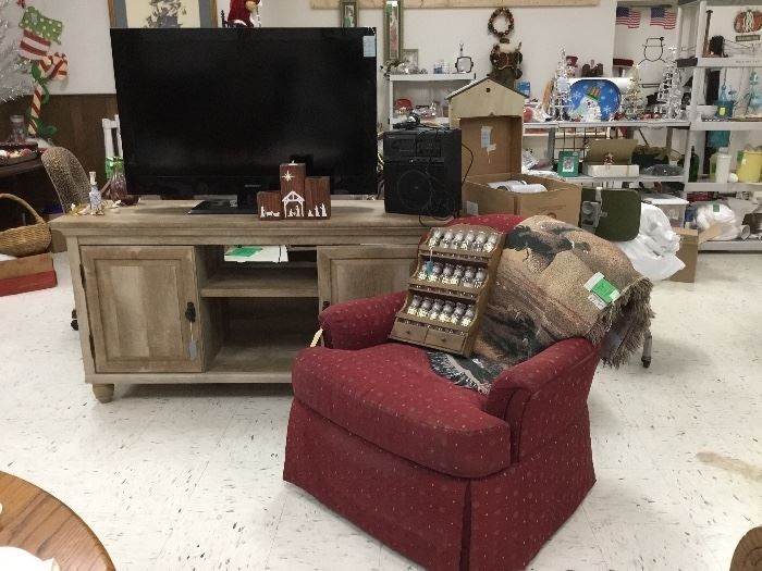 Occasional chair, Flat screen TV, Console cabinet