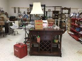 Rolling bar cart, vintage cooler, lamp