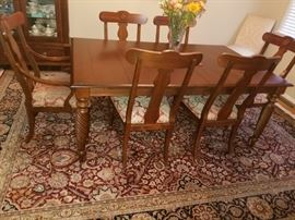 ETHAN ALLEN DINING ROOM SET 2 LEAFS AND TABLE PADS ALL FOR $ 1500 CALL MARC CAN BE PURCHASED RITE AWAY