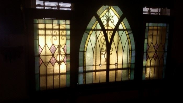 CHURCH CATHEDRAL STAINED GLASS WINDOWS...THERE ARE 2 SETS OF THESE