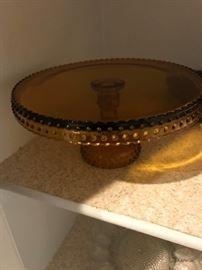 Amber Glass Cake Stand